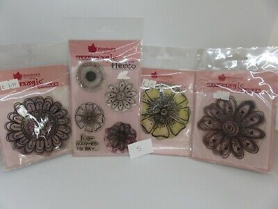 Woodware Clear Magic Floral Large And Small Funky Flowers Stamp Bundle Lot 5 • 0.99£