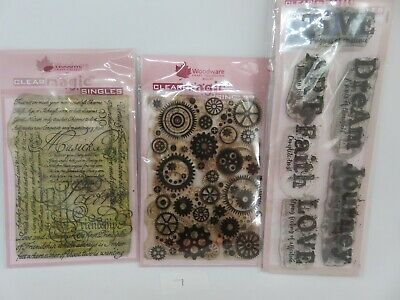 Woodware Clear Magic Backgrounds/Script/Journal Words/Cogs Bundle Lot 7 • 2.29£