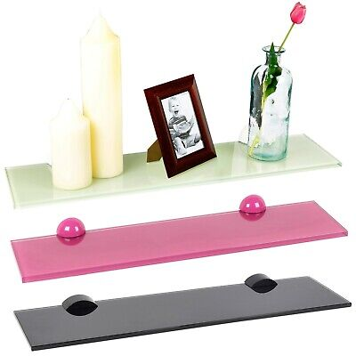 £11.99 • Buy Colourful Glass Floating Shelves Wall Mounted Hanging Display Storage Rack Decor