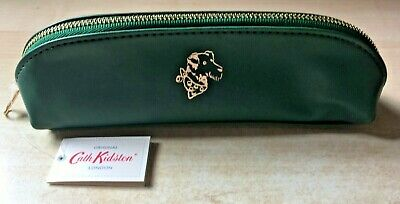 BNWT New Cath Kidston Green Curved Pencil Case With Gold Embossed Dog Portrait • 12£