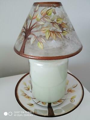 Yankee Candle 'golden Leaves' Med/large Plate & Shade Set  - New & Unused • 20£