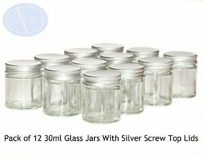 PACK Of 12 - 30ml CLEAR GLASS Jars With SILVER Lids For Aromatherapy Blends /... • 27.99£