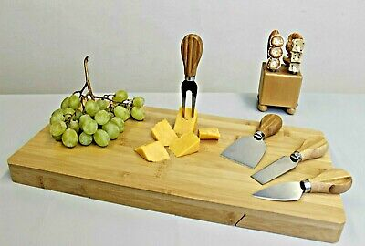 £19.99 • Buy Bamboo Cheese Board Set With 4 Knives Serving Tray Slide Out Drawer Platter
