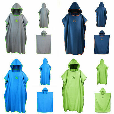 Adult Beach Robe Hooded Poncho Towel Changing Robe Surf Swim Solid Colour UK • 15.99£