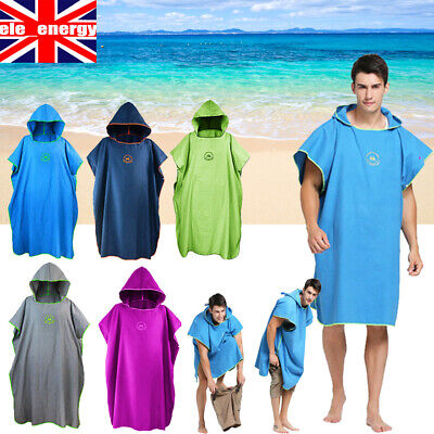 UK Adult Beach Changing Towel Microfiber Surf Bath Robe Poncho One Size Hooded • 15.99£