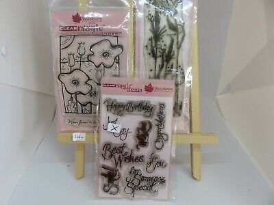 Woodware Clear Magic Funky Poppies, Grasses, Sayings Stamp Bundle Lot 44 • 0.99£