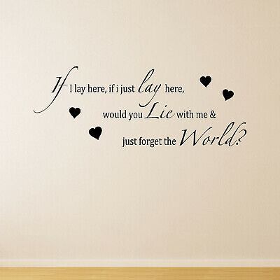 If I Lay Here - Hearts Chasing Cars Song Lyrics Snow Patrol Wall Sticker Decal • 20.95£
