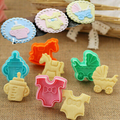 £2.17 • Buy Biscuit Mold Baby Shower Clothes Cookies 4pcs Fondant Cake Cutter Mould Plunger