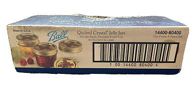$28.50 • Buy 12 Ball Regular Mouth Canning Mason Jars Quilted Crystal Glass Jelly Jar 4Oz Box