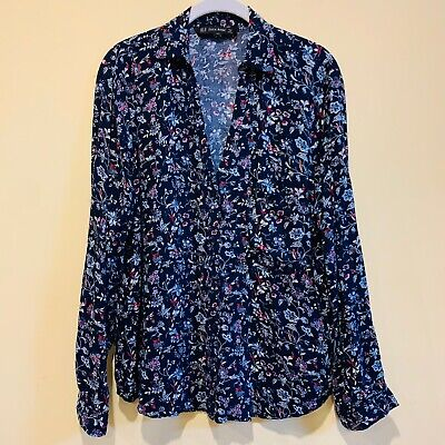 $18.98 • Buy Zara Basic Womens Size XL Navy Floral Long Sleeve Button Down Top
