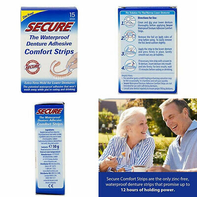 $15.52 • Buy Secure Comfort Strips Waterproof Denture Adhesive - Zinc Free - Extra Firm...