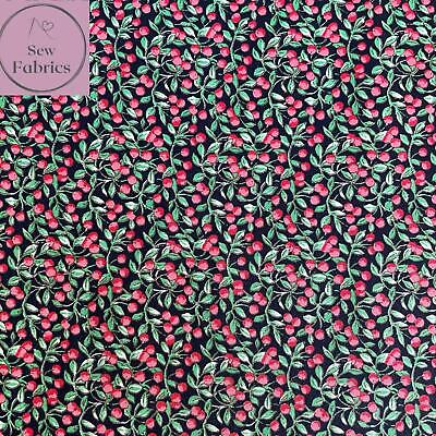 £4.49 • Buy Rose And Hubble Navy Red Berries Floral Fabric 100% Cotton Poplin Flower Fruit