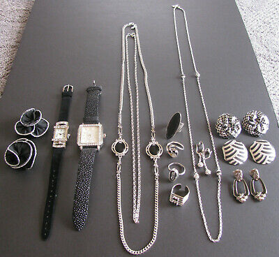$ CDN59.99 • Buy Vintage Costume Jewelry Avon Sarah Coventry Black & Silver 14PC Mixed Lot EUC