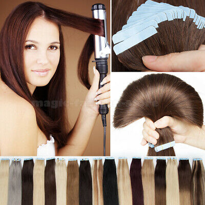 9A BROWN Thick Tape In Russian Remy Human Hair Extensions Full Head 150G UK Q451 • 19.24£
