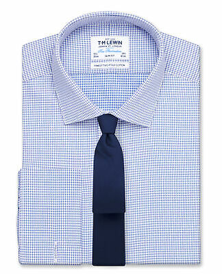 £19.95 • Buy T.M.Lewin Mens Slim Fit Blue Dogtooth Basket Weave Shirt – Double Cuff 20