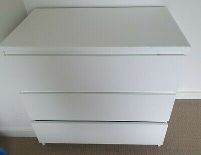AU75 • Buy Ikea Malm Chest Of Drawers Tall Boy White 3 Drawer Storage Unit Bedroom