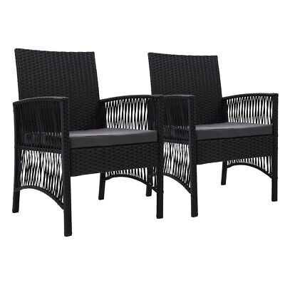 AU222.89 • Buy Outdoor Furniture Dining Chairs Rattan Garden Patio Cushion Black X2 Gardeon