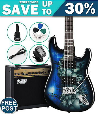 AU231.07 • Buy Electric Guitar And AMP Music String Instrument Rock Blue Carry Bag Steel String