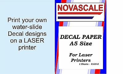 Decal Paper Clear A5Size LASER Print N105-5 (5 Sheets) • 8.32£