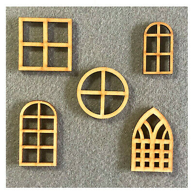 £3.65 • Buy Dolls House Window MDF Craft Shapes Wooden Home Tags Decoration Embellishments
