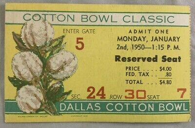 $19.95 • Buy Original 1950 Cotton Bowl Classic Football College Ticket Rice North Carolina