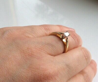 18ct Yellow Gold .25 1/4ct Baguette Diamond Solitaire Setting Ring Size: J • 141£