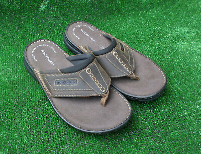New Mens Rockport Brown Leather Sandals Sports Slip On Size 7 • 19.99£