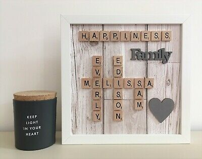 Scrabble Picture Box Frame Word Art Personalised Family Name & Heart • 26£