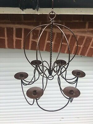 Wrought Iron 6 Cup Candle Chandelier With Hook - Exc Condition • 45£
