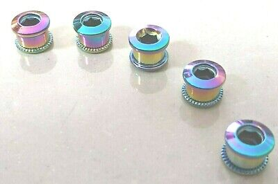 5 X Chainring 6.5mm Bolt Set Stainless Steel Rainbow Multi-coloured - UK Stock • 6.99£