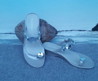 Holster Beige Holiday Beach Shoes Sandles  Size 6 With Rhine Stones Flip Flops  • 4.10£