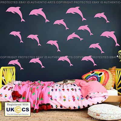 Dolphin Wall Stickers & Decals X16 Tile Fish Nautical Vinyl Kid Bedroom Sea Life • 9.99£
