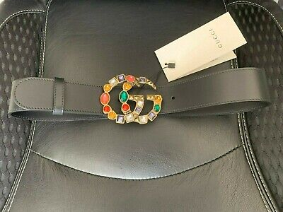 Gucci Black Leather Belt With Crystal Double G Buckle - SZ75 • 155£
