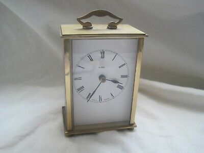 FULLY WORKING Solid BRASS English Carriage CLOCK By METAMEC Vintage GLASS • 11.38£