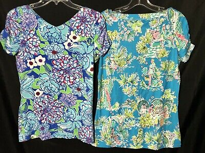 $19.99 • Buy Lilly Pulitzer LOT Size MEDIUM Short Sleeve Shirt Blouse Floral Island Print