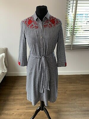 Women's Brora Gingham Embroidered Shirt Dress Size 12 • 75£