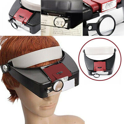 £8.45 • Buy 10X Lighted Magnifying Glass Headset LED Light Head Headband Magnifier Loupe XY