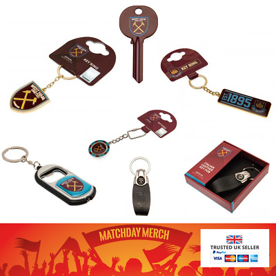 West Ham United FC Official Keyring Leather LED Torch Crest Bottle Opener Gift • 12.99£