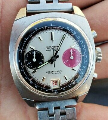 $ CDN1752.59 • Buy Vintage Original Gruen 2 Register Panda Dial Chronograph Watch