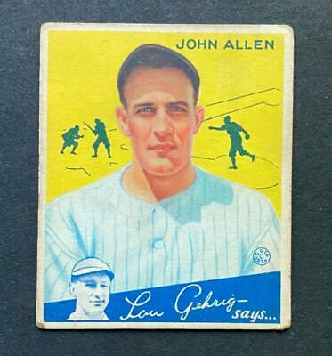 $9.38 • Buy 1934 Goudey John Allen #42 New York Yankees
