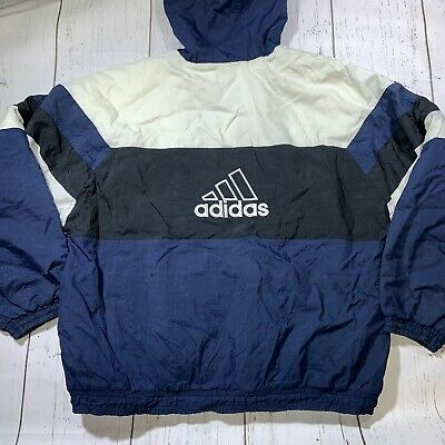 $ CDN45.76 • Buy VTG 90s Adidas Quilted Jacket Big Logo Blue White Mens Large (Flaws)