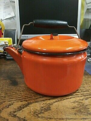$9.99 • Buy Vintage Orange Enameled Teapot / Coffee Pot W/ Wood Handle