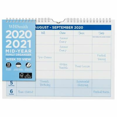 WHSmith Week To View 2020-2021 Mid-Year A4 Family Organiser Wire Bound • 5.39£
