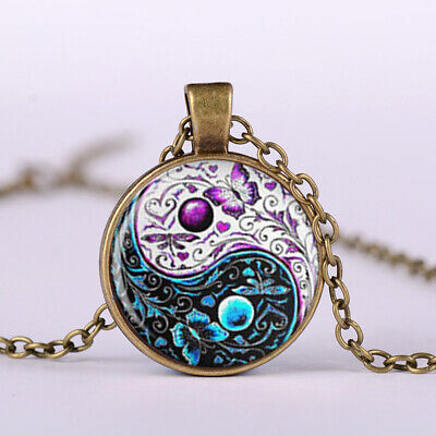 AU1 • Buy Vintage Retro Yin Yang Butterfly Cabochon Glass Pendant Silver Chain Necklace