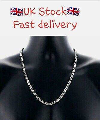 Stainless Steel Silver Curb Cuban Link Unisex Chain  Necklace 50cm Long 5mm Wide • 4.89£