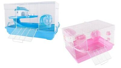 Deluxe Hamster Mouse Gerbil Cage 2 Tier With House Wheel Slide Dish Bottle  • 19.99£