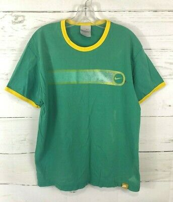 $ CDN35.19 • Buy Vintage Nike Ringer T Shirt Green Yellow Swoosh Size XL Mens H21