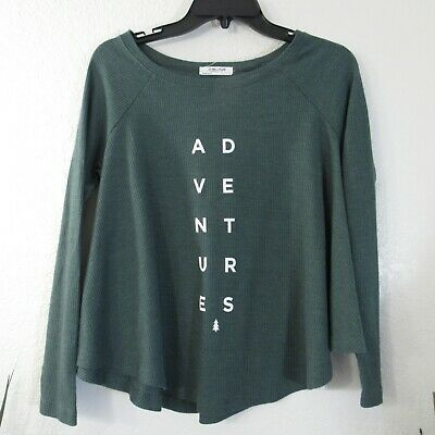 AU20.69 • Buy 35mm Clothing Womens Top Sz S Adventures Spell Out Thermal Relaxed Shirt