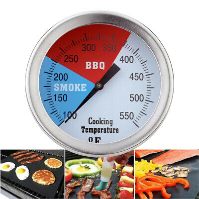 Stainless Steel Barbecue BBQ Grill Smoker Pit Thermometer Dial Temperature Gauge • 8.99£