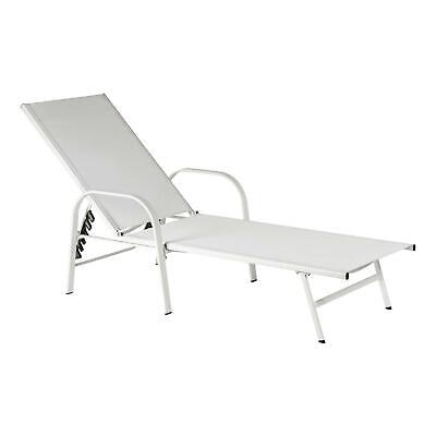£73.49 • Buy Sussex Garden Sun Lounger Bed Adjustable Reclining Outdoor Patio Furniture White